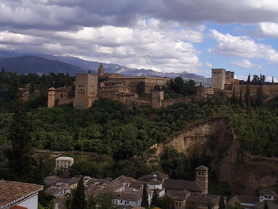 View of the Alhambra from the Mirador across the valley.