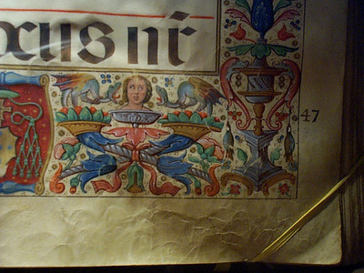 Lest you conclude there is nothing in Granada but the Alhambra, here's a close-up of a vellum hymnal in the Granada Cathedral.