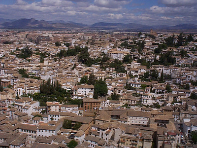 The streets of Granada viewed from the Alhambra. We are looking at the Albaicin Moorish Quarter.