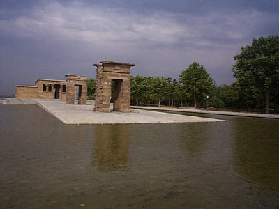 Templo de Debod, gift from Egypt, for Spain's help rescuing Egypt's antiquities buried by the waters of the Aswan High Dam.