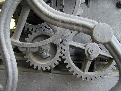 Detail of a 19th century grape press.