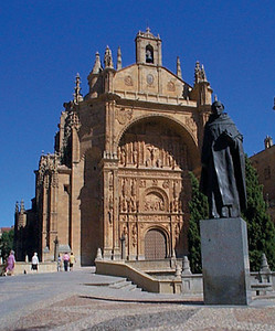 Newest Cathedral: San Estaban.  There are three primary churches in Salamanca. Historically, when a city builds a new church, it has been built on the foundation of the old. Salamanca is different. The old cathedral still stands, the new church was built next door, and the newest church built down the block. This gives an interesting sense of history and showcases Renaissance and Plateresque architectures.