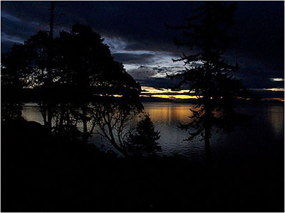 Orcas Island: Looking Southeast from Doe Bay. Sunrise 7 February, 1998.