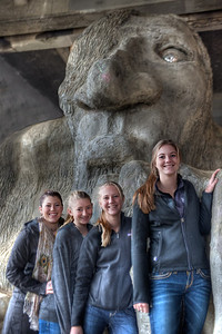 A gaggle of girls wanted me to take their picture. I did with their camera and again with mine. I had them line up in alphabetical order by height. Sent them a smaller version of this by email. They seemed to enjoy the experience ... as did I.