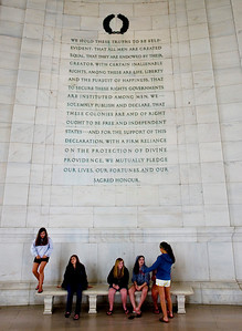 "Jefferson Memorial: I love the juxtaposition here, the girls and these sacred words on the wall. I wonder if they feel ""created equal."" Or if they care?"
