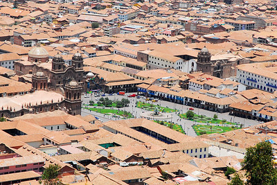From high ground overlooking the city, here's a view of the main square of Cusco. The 2 churches on the square are the same as in the photo below. It is obviously not a tall city but the streets are clean and the buildings in good repair.