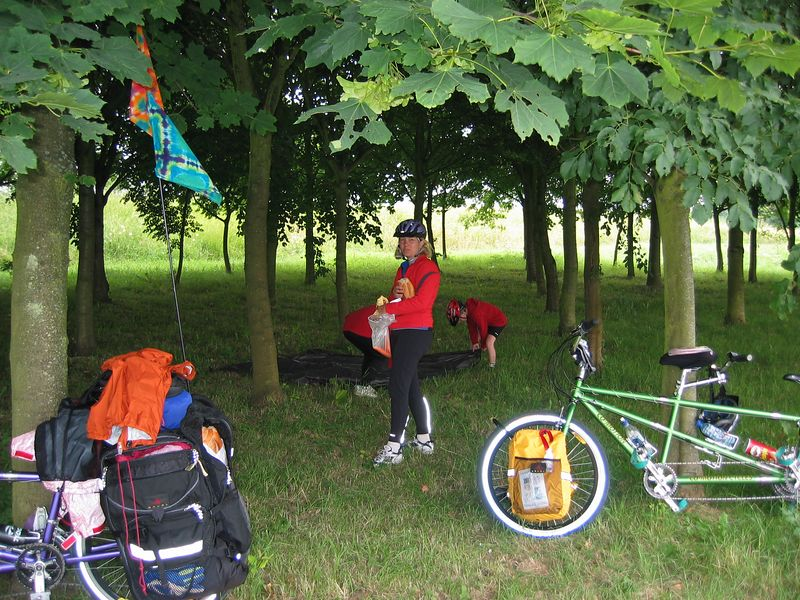 Taking refuge from the rain for lunch.  Somewhere near Bayeux, France.