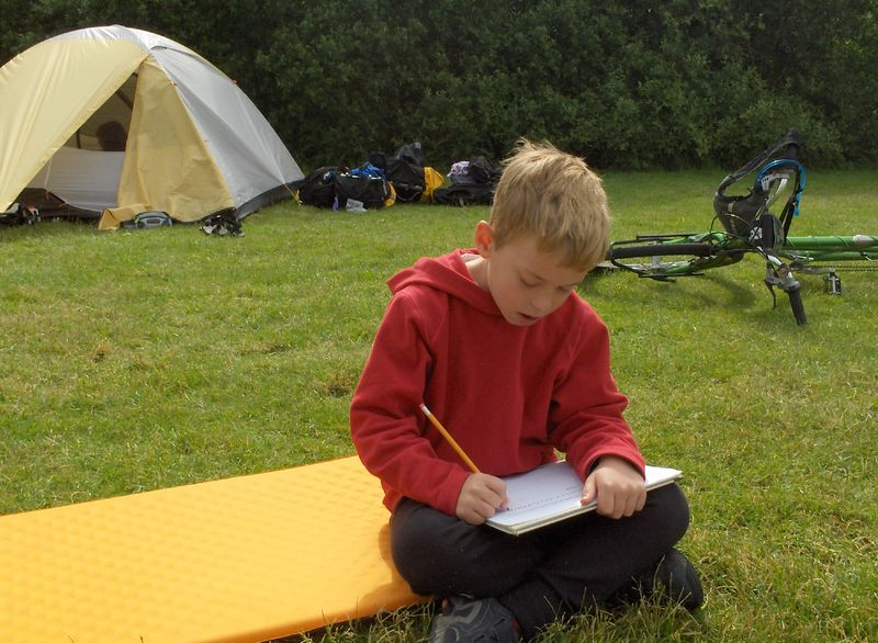 Doing homework on the road, campground in Oxford