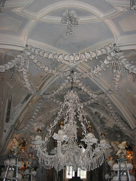 A chandelier made of every bone from the human body - The Church of Bones in Kutna Hura (near Prague)