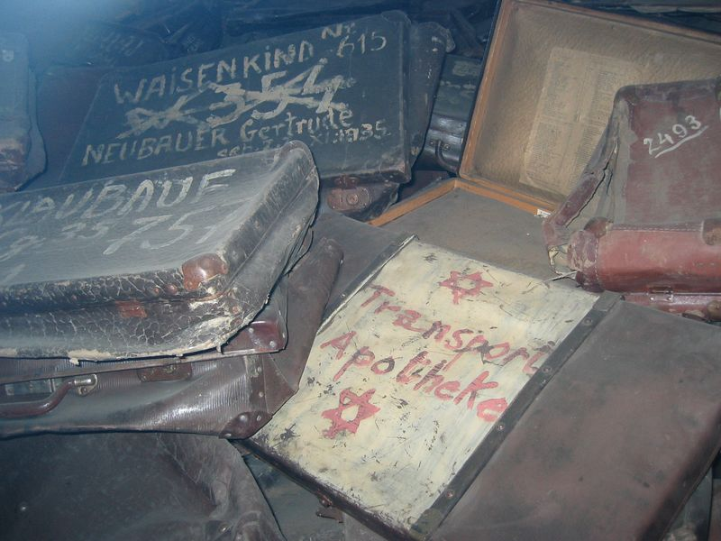 "Luggage from the ""refugees"" at Auschwitz"