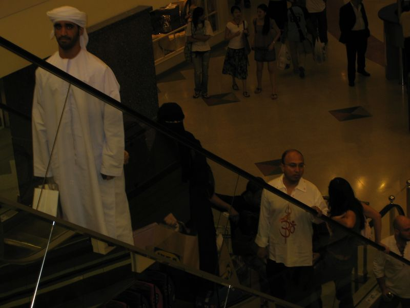This is a lousy picture, but I can't help it.  I thought it fascinating.  the younger guy in the headress is being followed by three women, who I am guessing are his wives, in full on burqas.  This is next to people in jeans and tank tops at the mall.