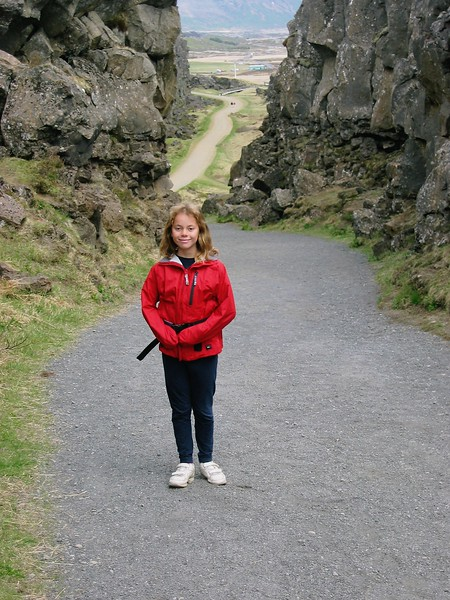 Pingvellir National Park, Iceland.  This is where the North American Plate and the Eurasia plate meet.  Katrina is standing between them.  I pushed real hard on one of the two plates and nothing happened.