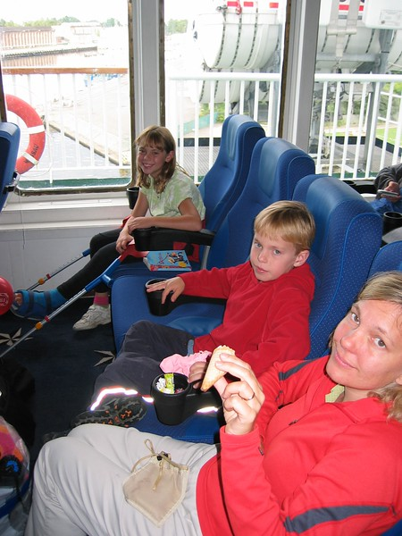 On our way to Sweden!  We are sitting on our ferry, thinking we will be in these seats all night as we are number 34 on a waiting list for a cabin.