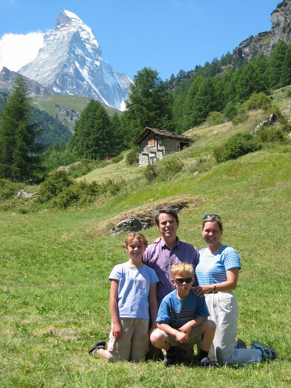 This was the morning of our (supposed) last day in Zermatt.  It was the first time we had good weather, and we decide to take a quick hike to the rock the kids liked to climb so we could get a few pictures.