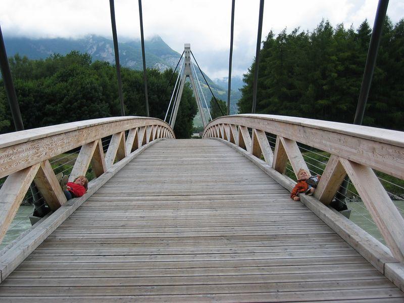 A foot bridge along the Rhone River just above Lake Geneva.