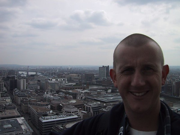 D0021.JPG - 17/04/01 12:25pm   Craig with the River Thames and Tower Bridge in the background.