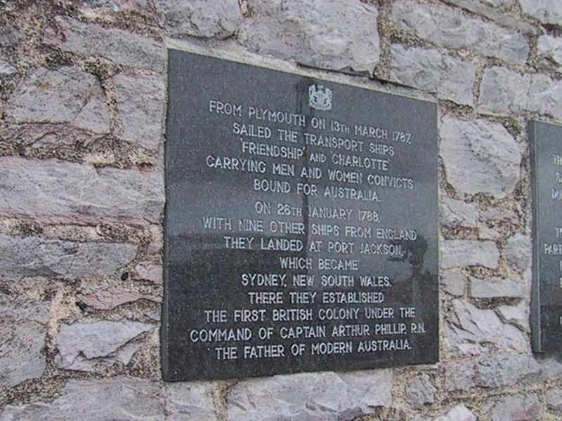 D0182.JPG - 17/06/01 11:38am   Plaque commemorating the ships that sailed from Plymouth and landed in Australia on 26th January 1788.