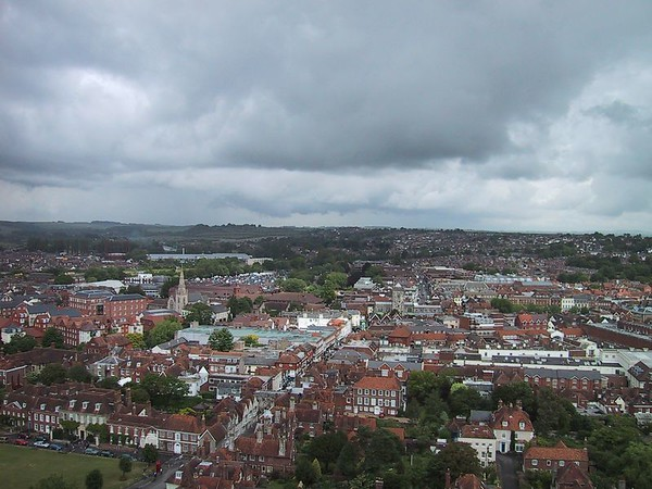 D0166.JPG - 16/06/01 12:02pm   View of Salisbury from the top of the tower at the base of the spire.
