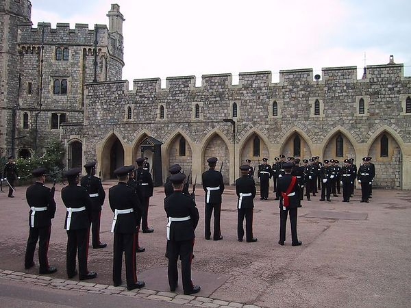 "D0140.JPG - 15/06/01 11:22am   The Guard.  Moments before this photo was taken, one of the guards here fainted...and the Sergeant Major ""requested"" him to leave the parade ground."