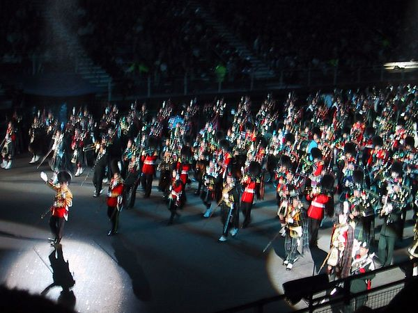 D0235.JPG - 11/08/01 11:56pm   The Massed Pipes and Drums near the end of the Tattoo.