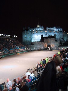 D0226.JPG - 11/08/01 10:12pm   Edinburgh Castle looking very eerie (blurred) just before the start of the Tattoo.