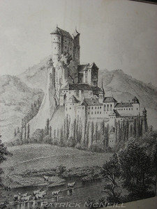 It doesn't get more fairy tale than this - Old drawing of Orava Castle, Oravski Hrad in Slovak