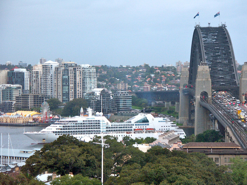 odyssey sailing under harbour bridge