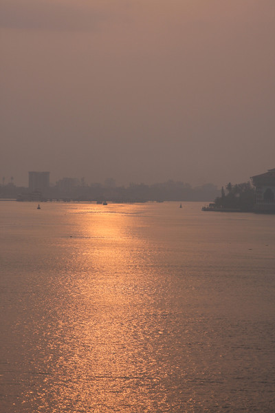 sunrise as we enter Cochin