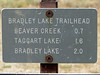 The <b>Bradley Lake Trail</b> is a 4-mile-long round-trip hiking trail in Grand Teton National Park located near Moose, Wyoming. The trail is accessed from the Taggart Lake Trailhead and provides access to Bradley Lake, with views of the lake and the Teton Range. At Bradley lake, the trail intercepts the Valley Trail which heads north towards Garnet Canyon or south to Taggart Lake.