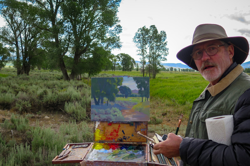 Walter Porter is another Plein Air artist we bumped into.  He is painting near the Mormon cabins.  We happened to bump into him again a couple of days later on our way into a wonderful wildlife museum.