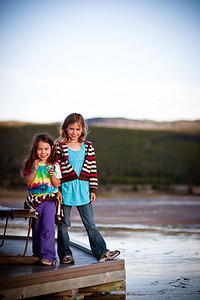 One of the girls at Yellowstone.  We were at the Grand Prismatic Spring around 7 or 7:30 and the sunlight was awesome.