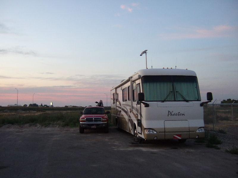 Camping at Trane's Diesel Service, Idaho Falls, ID