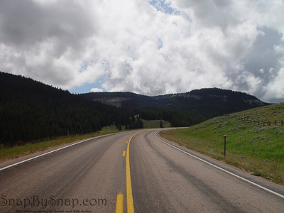 An empty road winding through Bighorn National Forest in Wyoming
