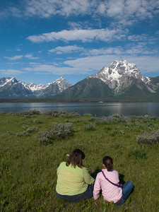 Yellowstone Vacation - Grand Teton National Park - Jackson Lake Area - Pam and Anna on Elk Island enjoying Mount Moran