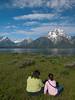 Yellowstone Vacation - Grand Teton National Park - Jackson Lake Area - Pam and Anna on Elk Island enjoying Mount Moran