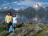 Yellowstone Vacation - Grand Teton National Park - Jackson Lake AreaPam, Abigail and Anna in front of Mount Moran on Elk Island