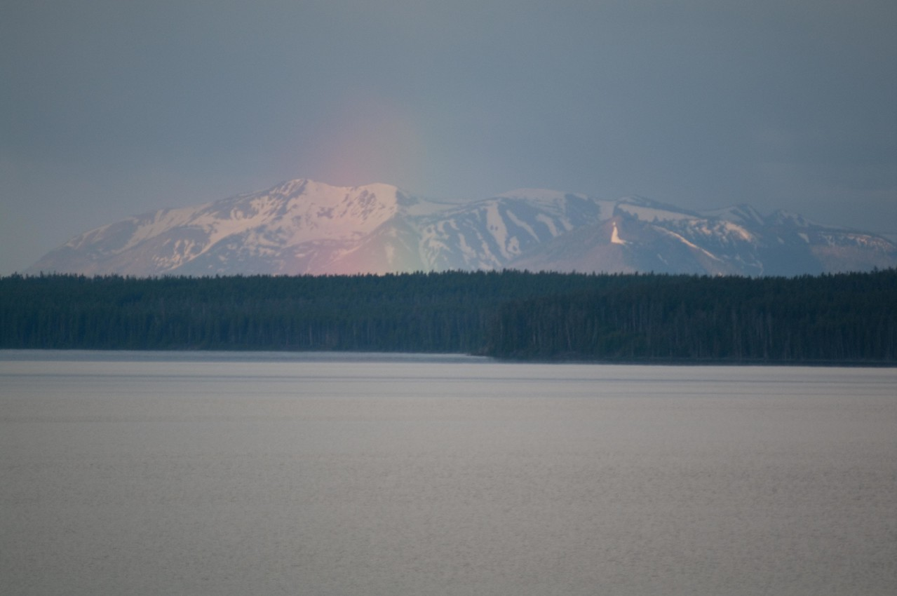 Yellowstone Vacation - Lake Yellowstone Area - Morning rainbow and Grand Tetons