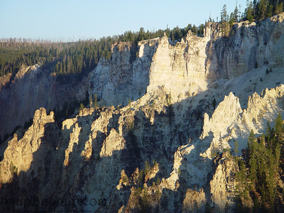 Looking at the early morning sun striking the formation in the Gran Canyon of the Yellowstone in Yellowstone National Park.