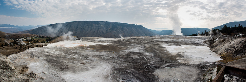Panoramic view on the top of Mammoth Hot Springs, Yellowstone National Park.