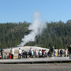 Randal Waving Before the Geyser Erupted  - Yellowstone National Park 9-6-05