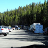 Why I won't go to Yellowstone again unless it's winter - it is beautiful but too crowded with RV's and buses.  Every parking lot looked like this.  No thanks.