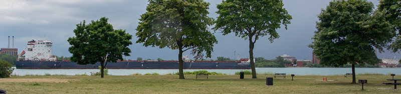 Freighter on the strait between Detroit and Windsor, Canada.