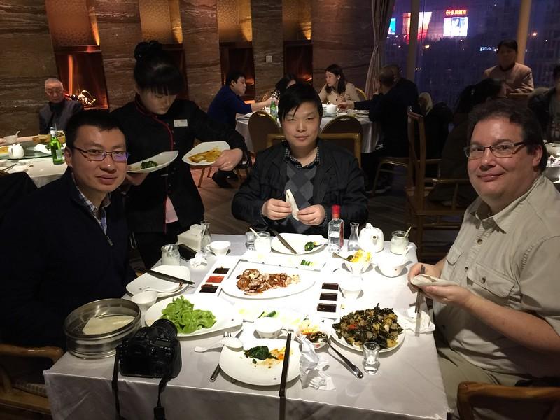 Eating Peking Duck with Jon, Steve and Jian Feng.