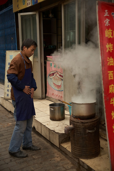 I'm not sure why they have this pot going outside, but the cloud of steam coming off of it was pretty impressive.