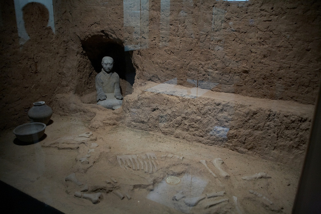 The bones of a horse were found with the statue of a servant. This was uncovered not far from the Terracotta soldiers.