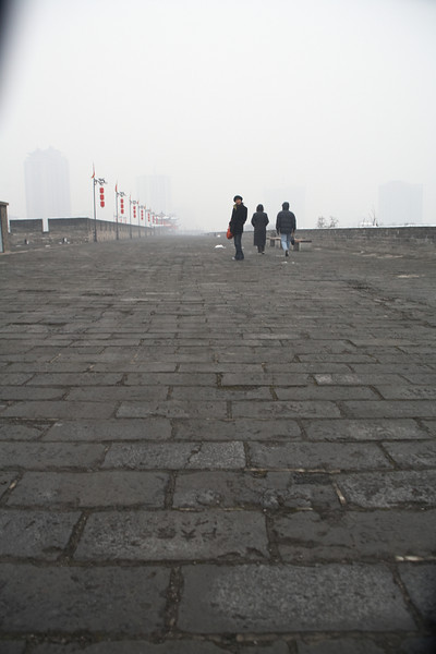 Walking along the eastern wall.