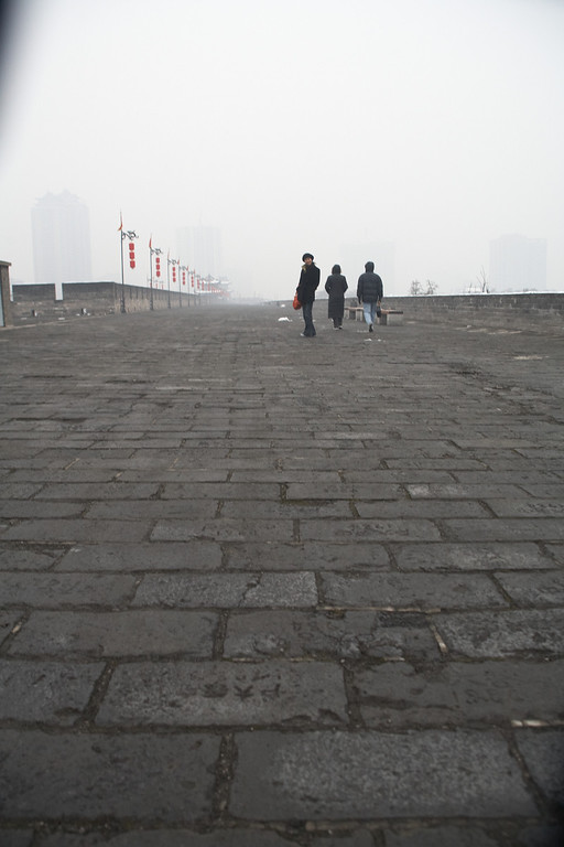 Walking along the eastern wall.