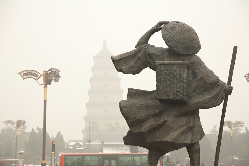 This statue is looking towards the Da Ci'en Temple and the Giant Wild Goose Pagoda.