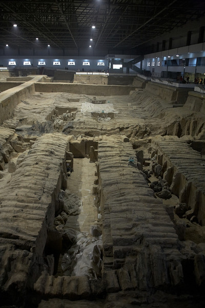 This is either pit #2 or #3. It is only partially uncovered. When the terracotta warriors were first unearthed, all the paint fell off within a day. They are waiting to develop technology to preserve the paint before revealing the remaining soldiers.