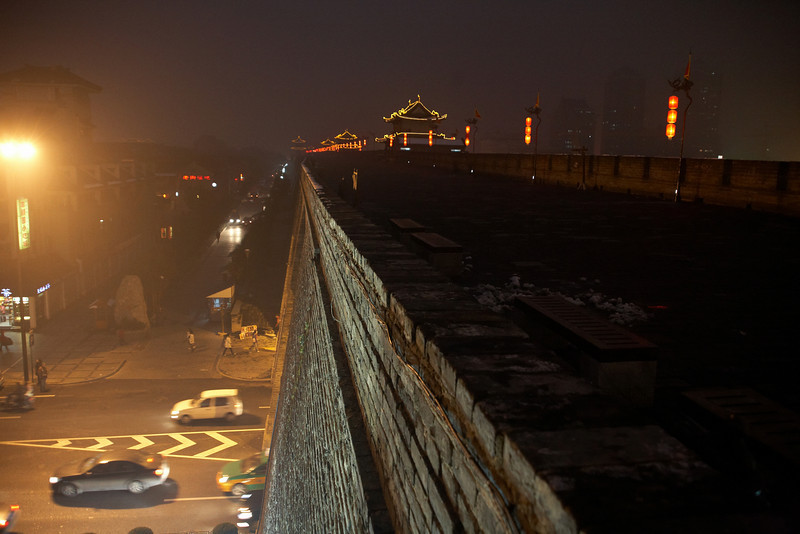 The south wall of Xi'an at night.